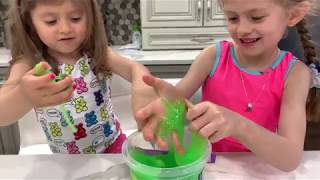 MIXING RANDOM LITTLE TOYS INTO GIANT NEON GREEN STORE BOUGHT SLIME! Karina and Katiusha will find 7
