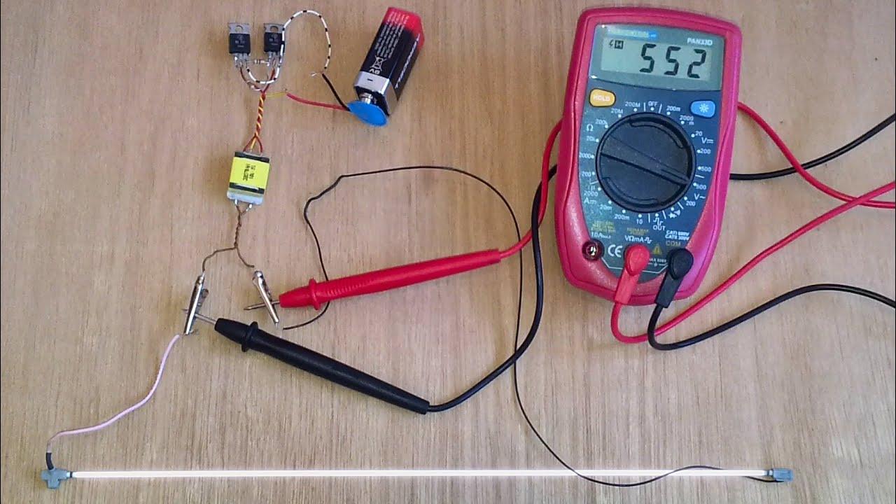 CCFL on a 9 Volt battery at 600 Volt output Schematic diagram in description  YouTube