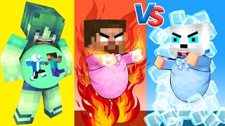 Monster School Hot And Cold Baby Zombie Challenge - Minecraft Animation