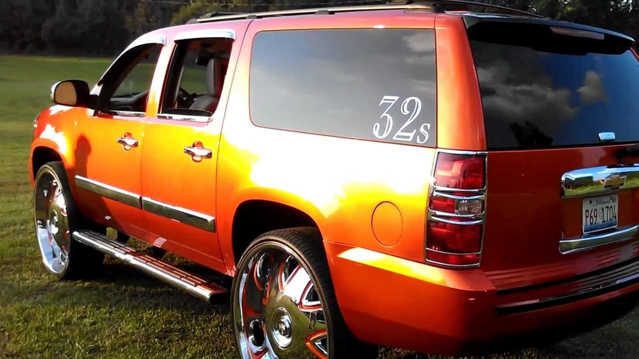 Candy Orange Suburban on 32's - YouTube