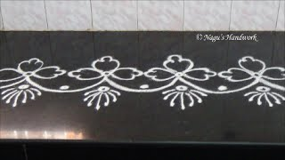 Simple Flower Border Rangoli Design-Border Rangoli Design By Nagu's Handwork