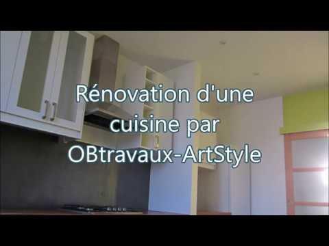 Rénovation d\'une cuisine avec crédence en béton ciré - YouTube