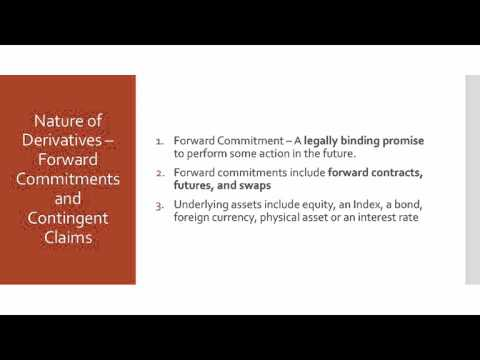 2  Nature Of Derivatives: Forward Commitments And Contingent Claims