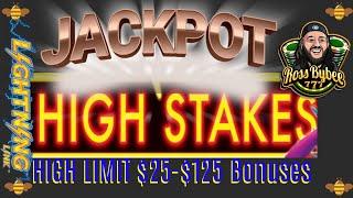 MASSIVE JACKPOTS! High Limit Lightning Link High Stakes Slots $25-$125 Bonuses