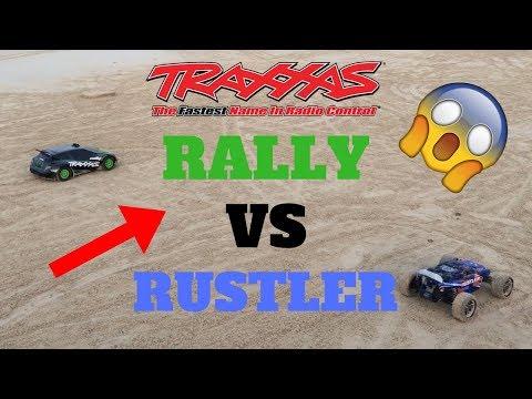 TRAXXAS RALLY VS TRAXXAS RUSTLER RC CAD OFF-ROAD RACE KUWAIT BEACH