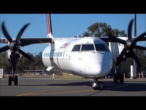 [HD] QantasLink DHC-8-402Q (VH-QOF) Landing, Startup And Takeoff From Port Macquarie