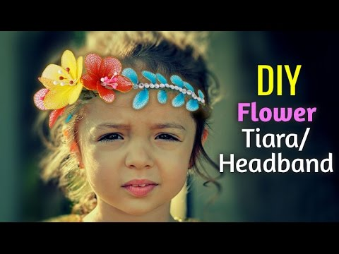 DIY Girls Jewellery : How To Make Stocking Flower Tiara or Headband for Girls