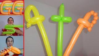 como hacer espadas con globos largos - globoflexia para niños,  espada con globos paso a paso thumbnail
