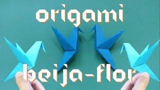 Como fazer um pássaro Beija-Flor de origami fácil (How to make an origami Hummingbird) | Origamigos