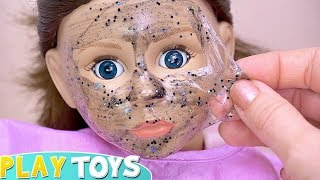 Play Doll Glitter Face Mask with Spa Salon Toys