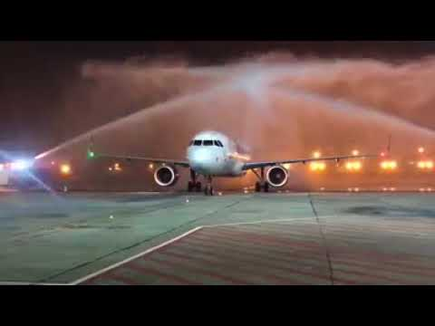A water cannon salute welcomes us to Terminal 2, Go Air Flight | Delhi Airport !