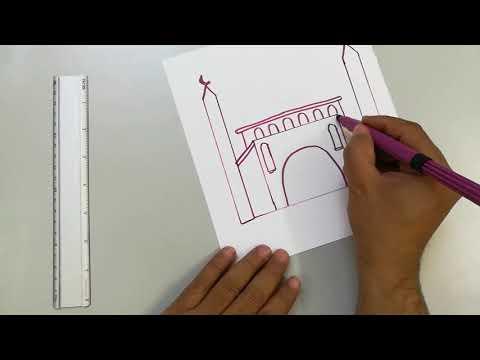 طريقة رسم مسجد جميل تعلم رسم المسجد سهل Draw A Mosque Art Youtube