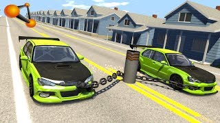 BeamNG.drive - Chained Cars against Bollard #5