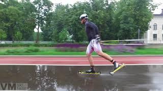 Лыжероллеры - техника конькового хода. Работа палок.