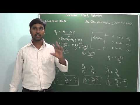 1.2 Partial pressure & Dalton's law ( Gaseous state) (Chemistry - Class 11 & Class 12)