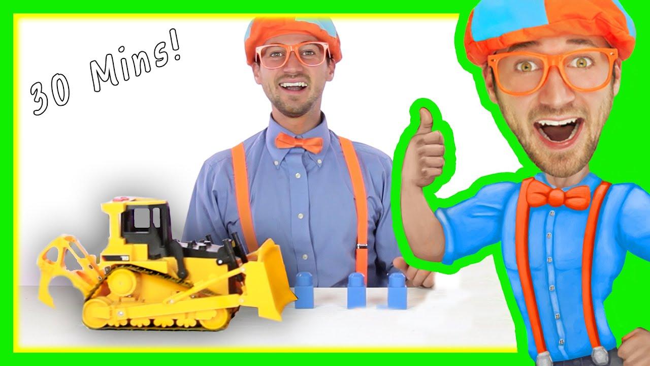 Blippi Toy Videos for Children | Learn Letters Backhoe Compilation