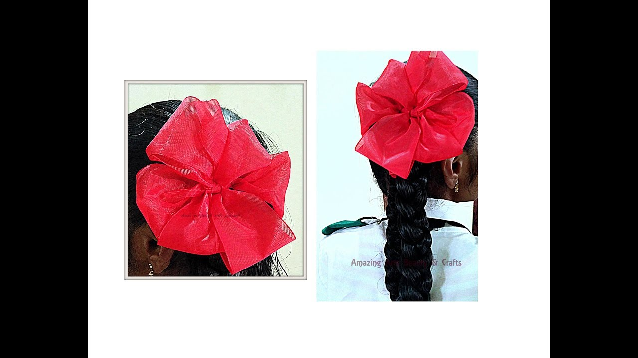 Quick And Easy Making Of Ribbon Flower On Hair School Hack Styles Indian Style