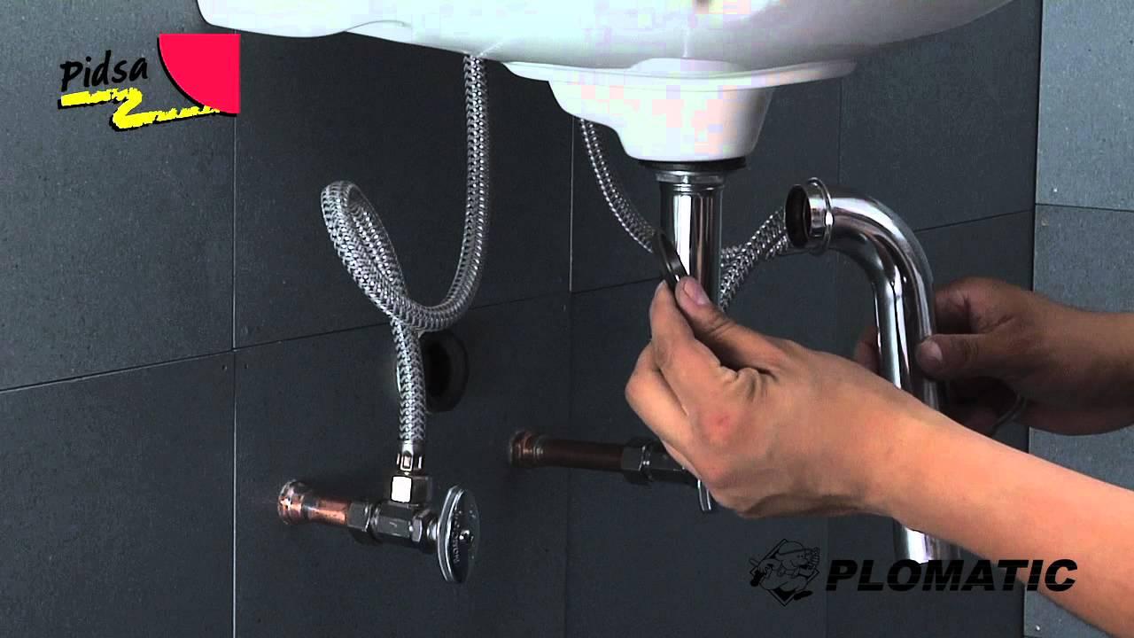 C mo instalar el c spol para lavabo de lat n cromo 32mm for Llaves para fregadero