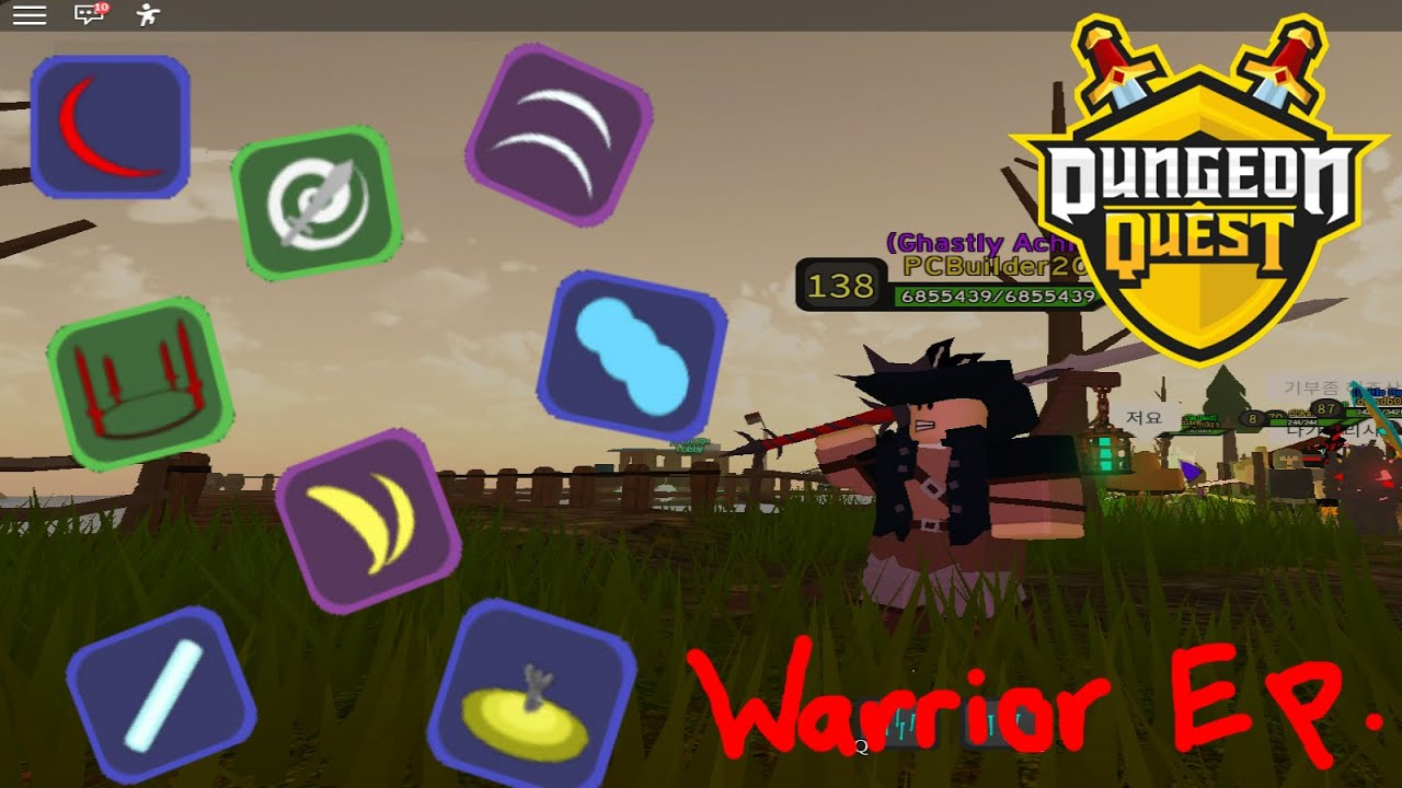 All Spells From Desert To Boss Raid In Dungeon Quest Warrior Episode Youtube