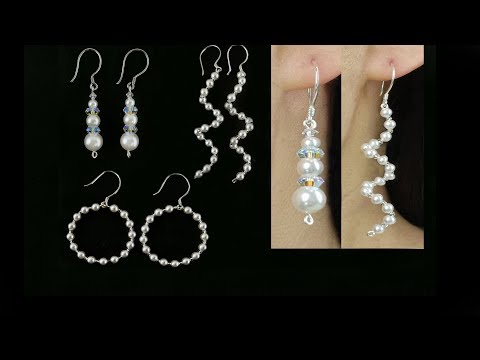 3 Easy DIY Pearl Earrings/ Wire and Beading Pearl Earrings, Spiral Earrings and Hoop Earrings