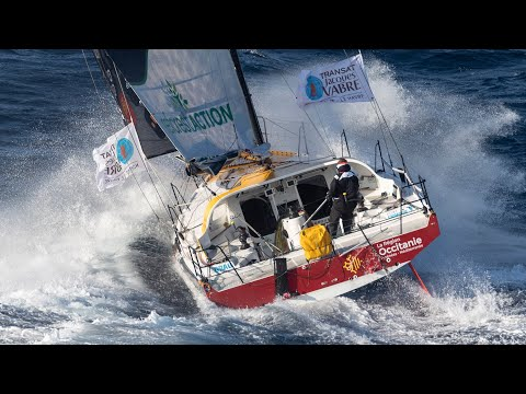 Offshore Class 40 in strong wind and waves