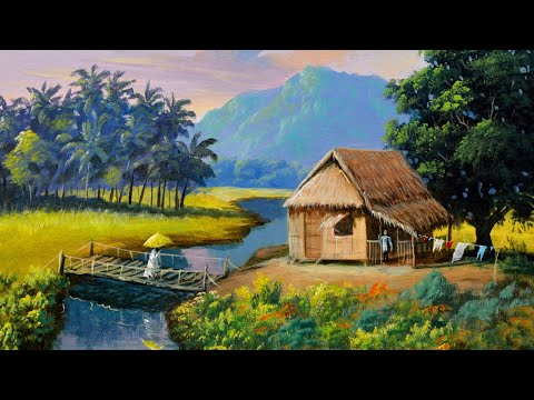 Landscape Painting Tutorial with Tropical Native House in Acrylics | Paint with JMLisondra