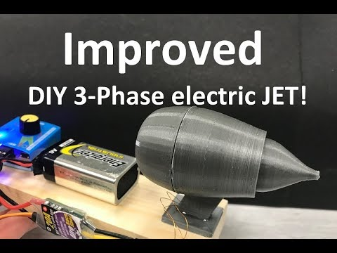 Improved 3D-printed  3-phase electric JET