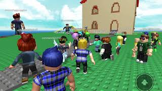 First gaming video playing ROBLOX natural disaster survival with Pow Productions