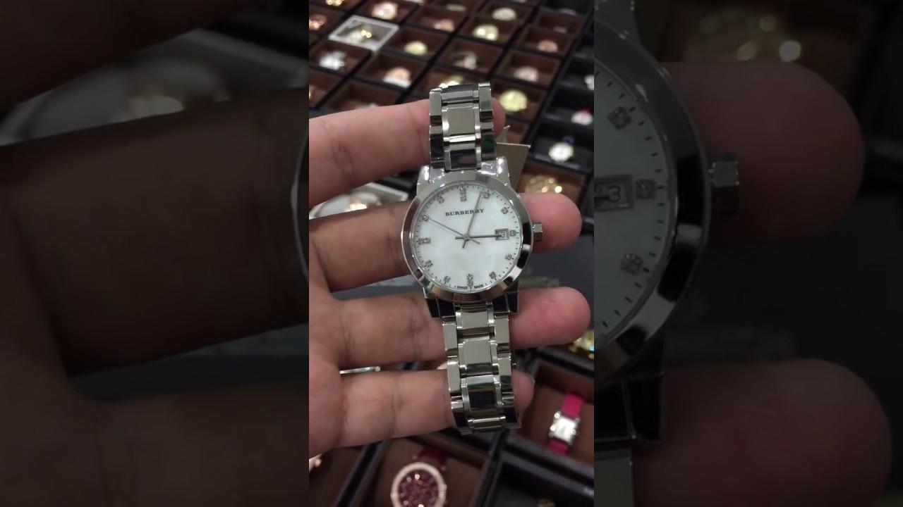 7eb46226d903 BURBERRY BU9125 Women s Swiss Diamond Accent Stainless Steel Bracelet 34mm