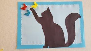 Кошка Аппликация из цветной бумаги с шоблоном для скачивания