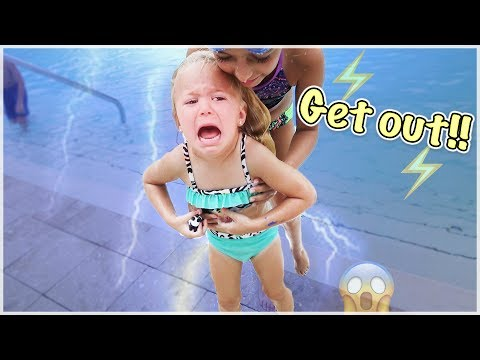 RORY SWIMS IN A POOL DURING A THUNDERSTORM | GET OUT! LIGHTNING IS COMING!