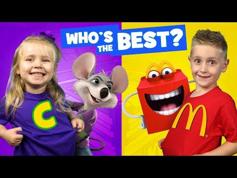 Thumbnail: Chuck E Cheese vs McDonald's KIDS React Battle & Family Fun Review by KIDCITY