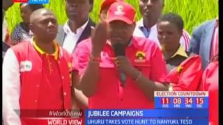 Uhuru Kenyatta speaks to Nanyuki residents in vote hunt mission