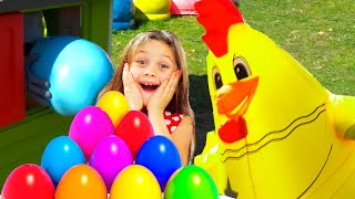Piter and Nadija  play with Surprise  Eggs with Toys