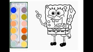 Мультик раскраска|Раскраска для детей губка боб|Учим цвета|Рисовалка TV
