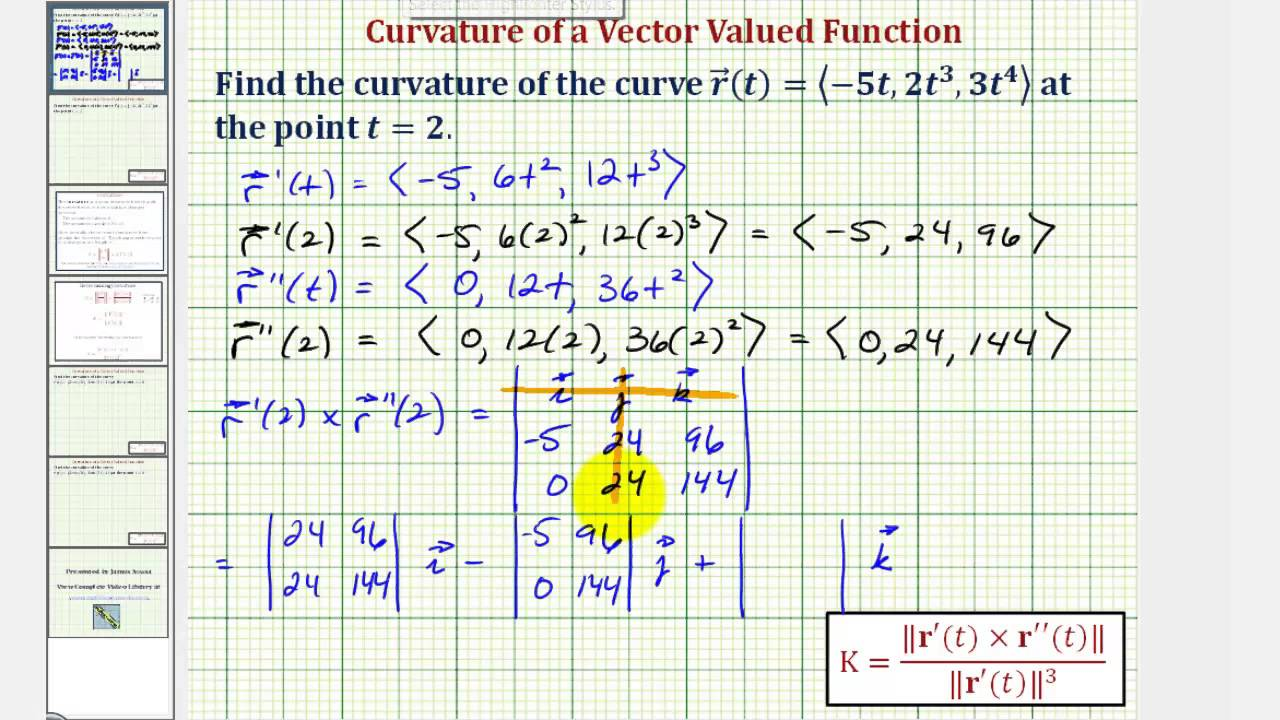 Ex 1: Find the Curvature of a Space Curve Given by a Vector Function (Cross  Product)