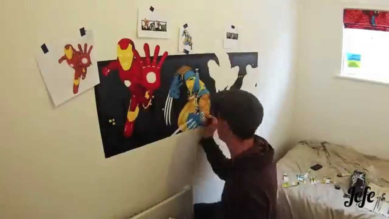 How To Paint A Wall Mural super hero wall mural paintingjefe (gopro time lapse) - youtube