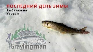 Рыбалка на ленка в последний день зимы на реке Уссури Ловили ленка на червя икру мушки обманки