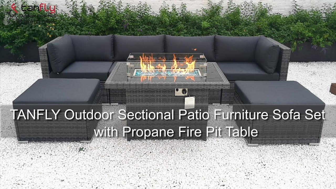 tanfly outdoor sectional patio furniture sofa set with propane fire pit table