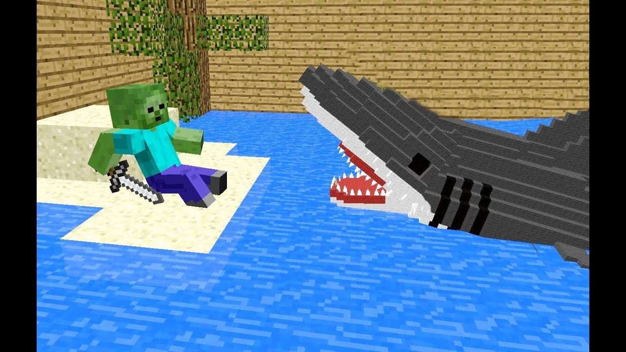 Monster School Killing The Shark Minecraft Animation Jaws Movie YouTube