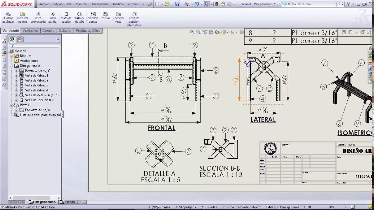 tutorial mesa solidworks 2da parte planos vista
