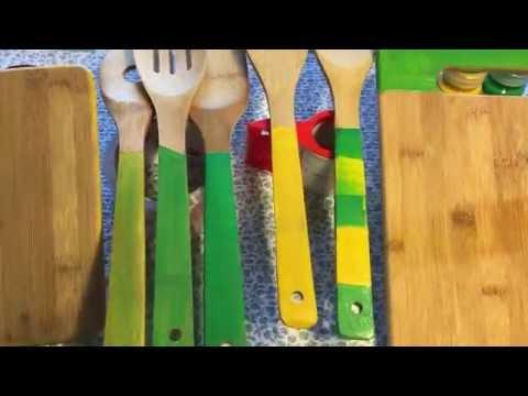 DIY Paint your wooden utensils ( kitchen hack  )