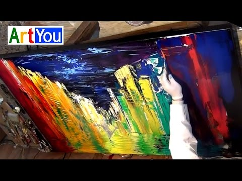"Cityscapes. How to paint an Original painting 60x36"" large canvas. effects with palette knife"