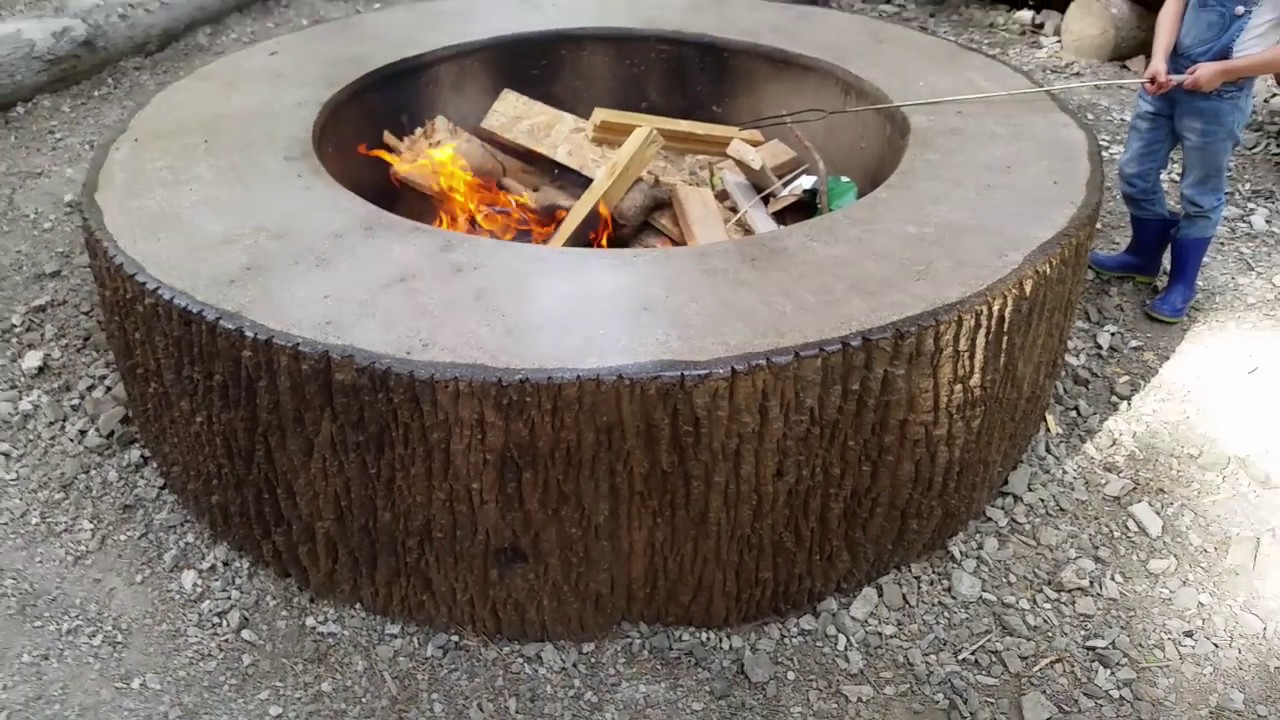 Making A Giant Concrete Tree Stump Fire Pit Ring Youtube