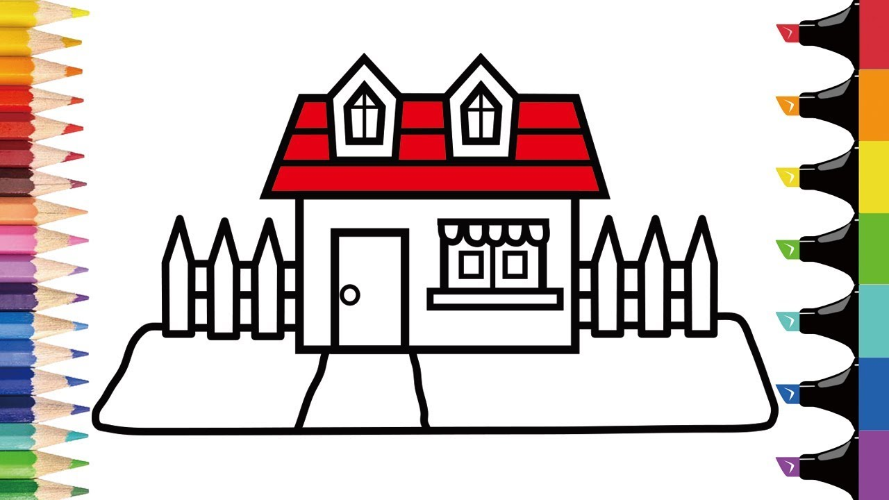 How To Draw House For Kids Easy Coloring Pages Step By