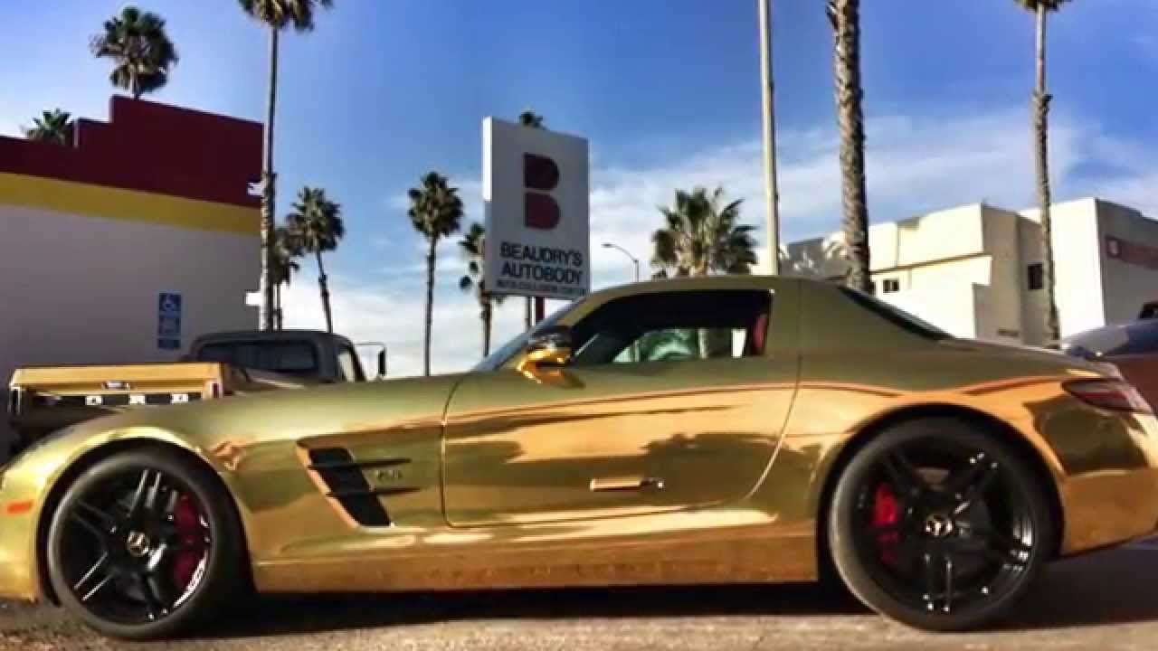 Tanner Fox Frs Wrap >> Gold Chrome Mercedes Benz SLS AMG with CUSTOM Red Reflective Brake Calipers by SD WRAP - YouTube