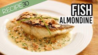 Crispy skin fish almondine with cream sherry sauce and crunchy almonds