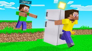 I STOLE JELLY'S Minecraft FRIDGE & All His FOOD! (troll)