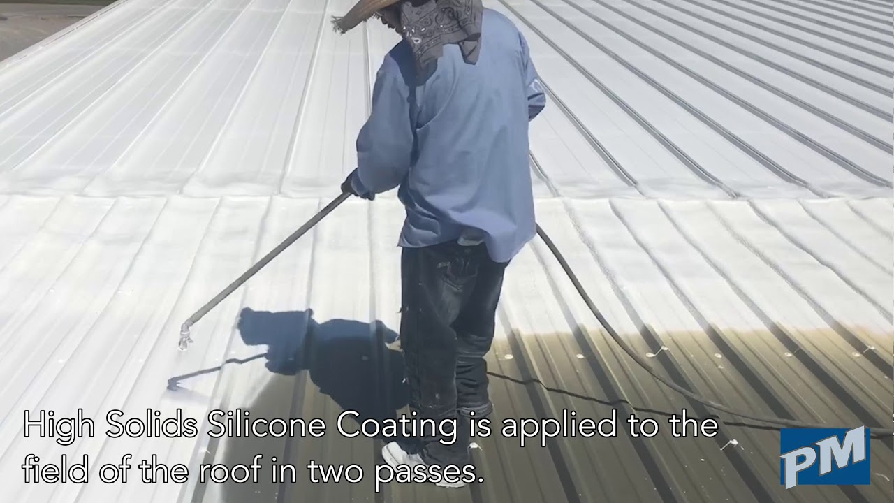 Silicone Roof Coating Restoration over Metal Roof - Application