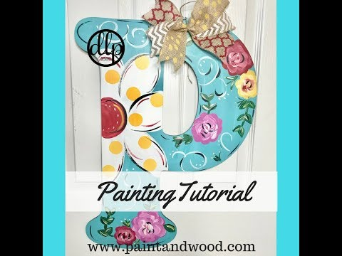 Spring Floral Painted Monogram Door Hanger
